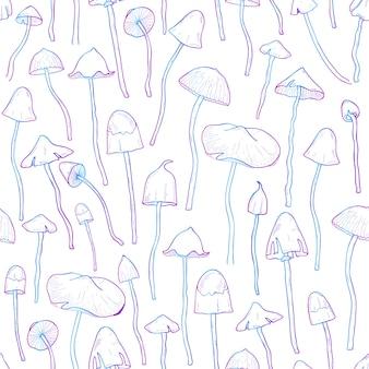 Hermoso no comestible, alucinógeno hongo de patrones sin fisuras. dibujado a mano psilocybe. ilustración colorida sobre fondo blanco.