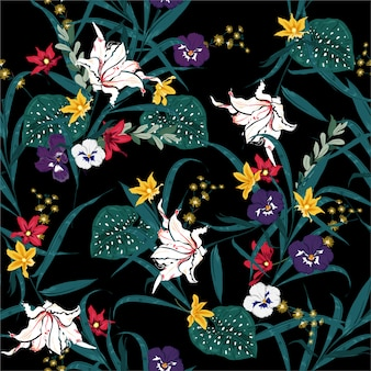 Hermoso oscuro tropical y floración de patrones sin fisuras de plantas botánicas con flores exóticas y hojas. patrón de colores sin costura. diseño para moda, tela, tela y todos los estampados.