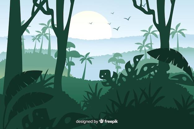 Hermoso paisaje de bosque tropical y pájaros