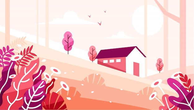 Hermoso paisaje con una casa en el bosque ilustración