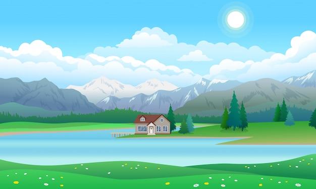Hermoso paisaje con casa en lago, bosque y montañas