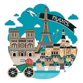 Hermoso paisaje de la ciudad de francia con atracciones famosas