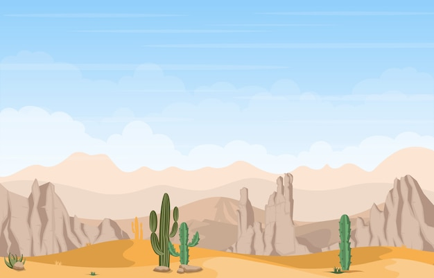 Hermoso paisaje del desierto occidental con sky rock cliff mountain ilustración