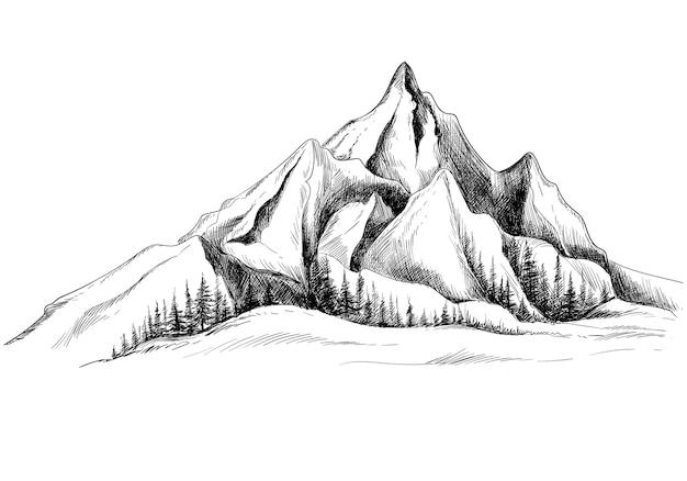 Hermoso paisaje de dibujo a mano con diseño de bosquejo de montaña