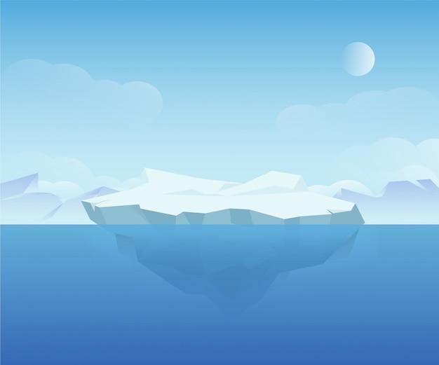 Hermoso paisaje de hielo natural polar norte naturaleza paisaje ilustración