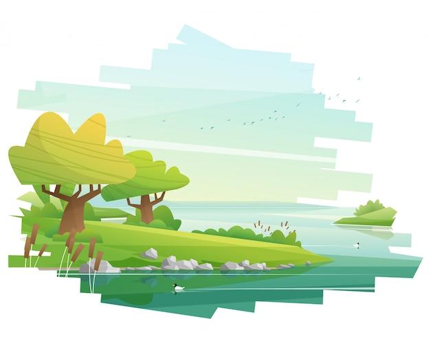 Hermoso paisaje ilustrado