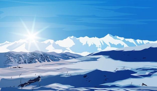 Hermoso paisaje invernal con rayos de sol brillante, montañas de campo de nieve blanca y grandes derivas en primer plano