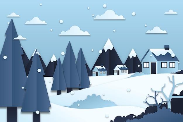 Hermoso paisaje de invierno en estilo papel