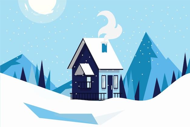 Hermoso paisaje de invierno frío