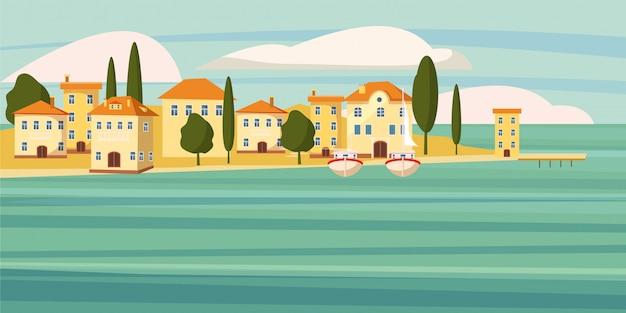 Hermoso paisaje marino, ciudad del sur junto al mar, casas, dibujos animados, barcos, vector, ilustración