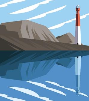 Hermoso paisaje marino con rocas y diseño de ilustraciones vectoriales de faro