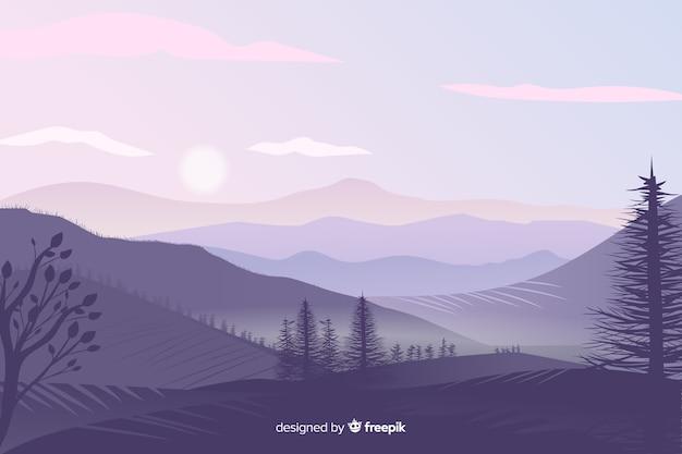Hermoso paisaje de montañas gradiente