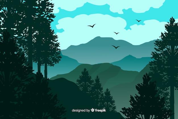Hermoso paisaje de montañas con pájaros
