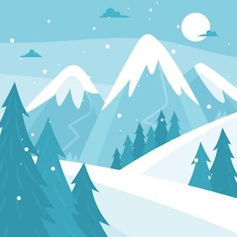 Hermoso paisaje nevado de invierno