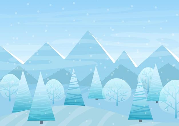 Hermoso paisaje plano de invierno de navidad