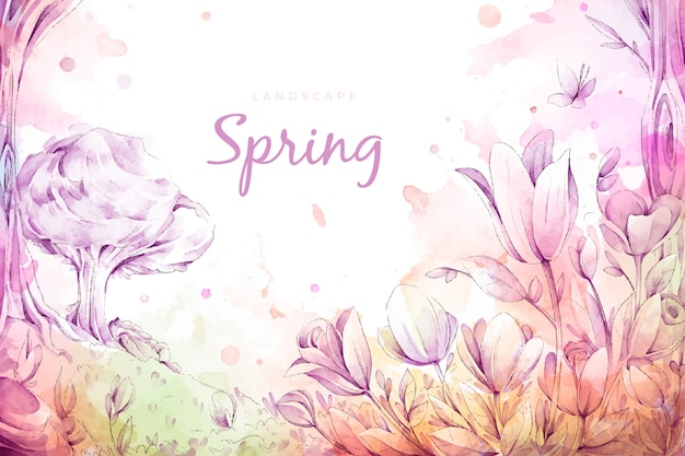 Hermoso paisaje de primavera de acuarela