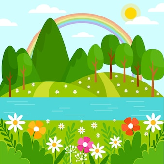 Hermoso paisaje de primavera con flores y árboles