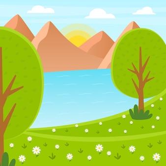 Hermoso paisaje de primavera con montañas y lago