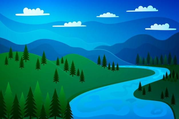 Hermoso paisaje de primavera con montañas