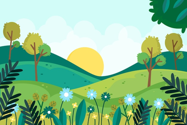 Hermoso paisaje de primavera plana