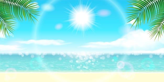 Hermoso paisaje de resort de verano con océano brillante y cielo azul en ilustración 3d