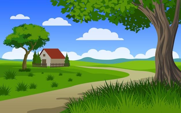 Hermoso paisaje rural con casa