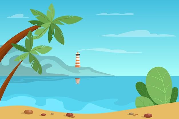 Hermoso paisaje de verano con una baliza en el fondo