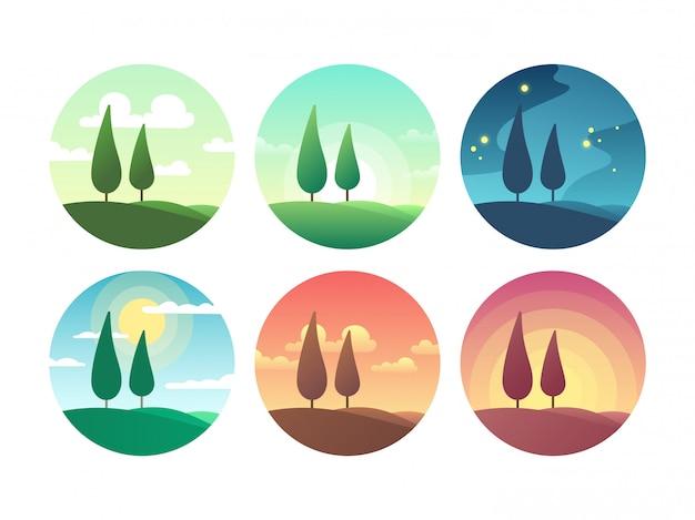 Hermoso paisaje de verano en diferentes momentos del día. amanecer mañana, día soleado, puesta de sol tarde y noche estrellada vector