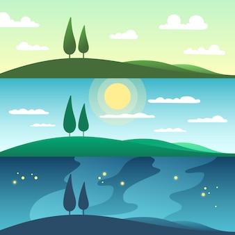 Hermoso paisaje de verano en diferentes momentos del día. ilustración de dibujos animados