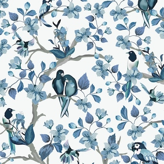Hermoso pájaro azul en el jardín de flores azul.