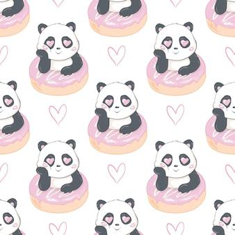 Hermoso panda sosteniendo un patrón sin costuras donut sobre un fondo blanco