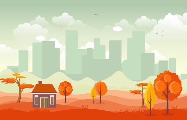 Hermoso parque de la ciudad en otoño otoño con edificio skyline ilustración