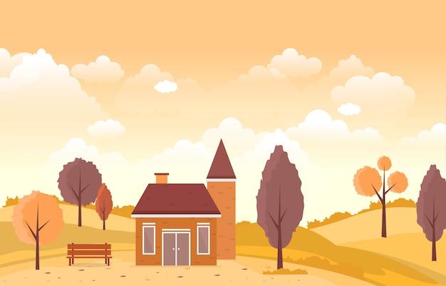 Hermoso parque jardín en otoño otoño con árbol cielo paisaje ilustración