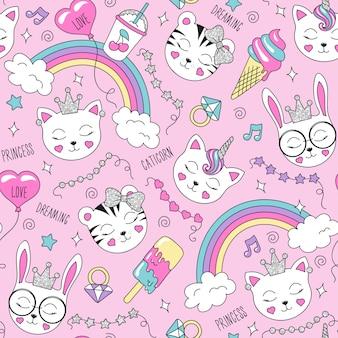 Hermoso patrón de animales lindos en rosa