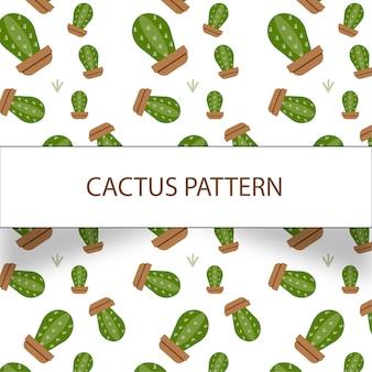 Hermoso patrón de cactus sobre fondo blanco