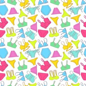 Hermoso patrón sin costuras de coloridos trajes de baño. ilustración dibujada a mano