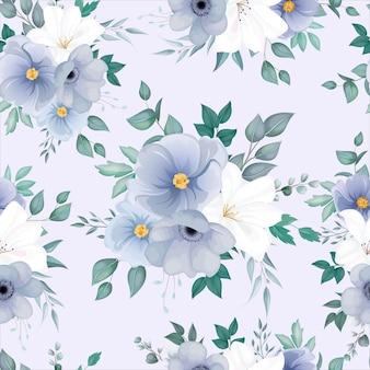 Hermoso patrón sin costuras con elegantes flores y hojas