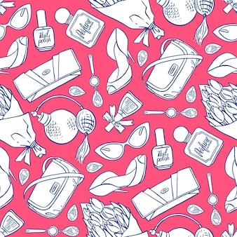Hermoso patrón sin costuras de elementos femeninos rosados y azules