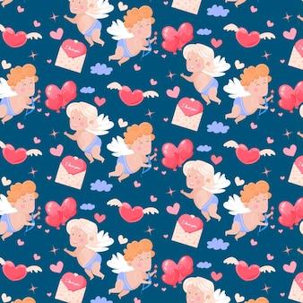 Hermoso patrón sin costuras feliz día de san valentín. cupidos lindos, corazones, nubes.