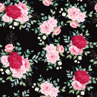 Hermoso patrón sin costuras floreciente floral