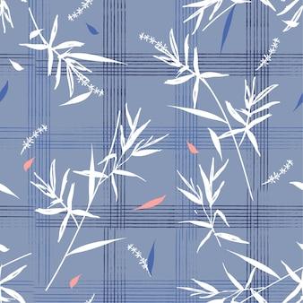 Hermoso patrón sin costuras con hojas de bambú en cheque de cuadrícula dibujado a mano