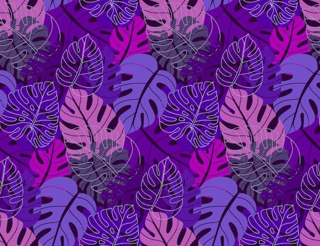 Hermoso patrón sin costuras con hojas de monstera de palma de selva ropical