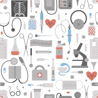 Hermoso patrón sin costuras con iconos médicos planos