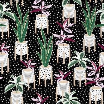 Hermoso patrón sin costuras con plantas caseras dibujadas a mano botánicas en macetas mezcladas con pintura a mano lunares blancos