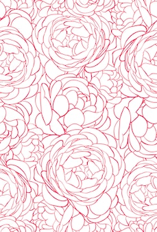 Hermoso patrón sin costuras con rosas rosadas
