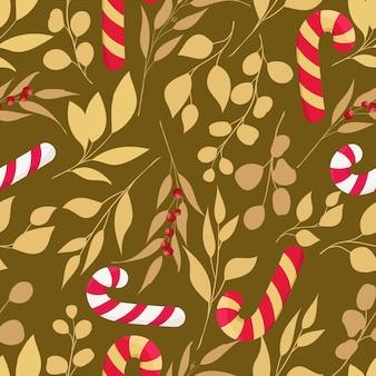 Hermoso patrón de elementos navideños dibujados a mano