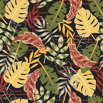 Hermoso patrón sin fisuras con plantas tropicales y hojas