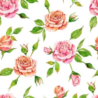 Hermoso patrón floral acuarela