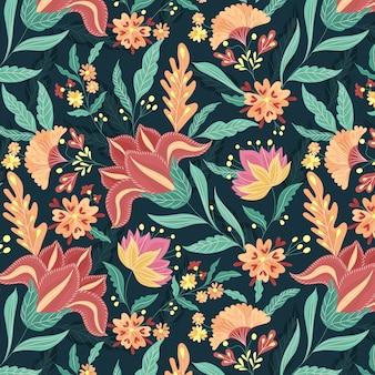 Hermoso patrón floral étnico