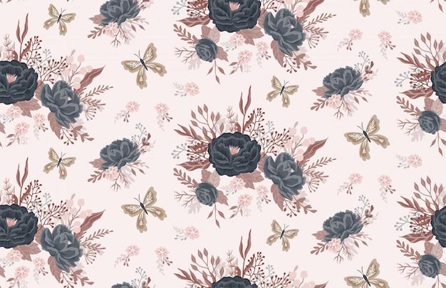 Hermoso patrón floral con flores y mariposas.